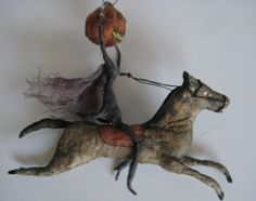 Spun Cotton Headless Horseman Halloween Ornament by maria pahls