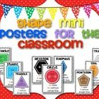 This is a set of 9 shape (mini) posters to brighten your classroom! I hope it will be a great resource for you and your students. Grab my mini posters too: Mini Shape Posters for Preschool Math, Fun Math, Maths, Math Math, Teaching Shapes, Teaching Math, Teaching Ideas, Kindergarten Freebies, Kindergarten Classroom