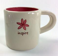Starbucks Inspire Coffee Tea Mug Pink Flower 2008 Hand Painted Dishwasher And Microwave Safe