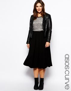ASOS CURVE - Full Skater Skirt In Longer Length