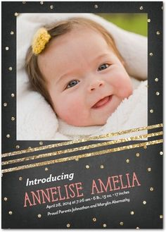 Bountiful Glitter - Girl Photo Birth Announcements - Petite Alma - Sorbet Pink #baby
