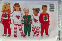 Butterick 3577 Children's Christmas Top, Pants and Headband Pajamas