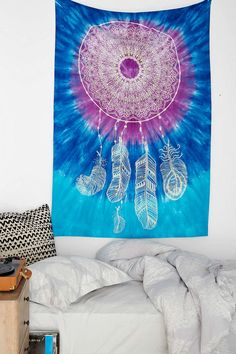 Would make a great curtain Magical Thinking Tie-Dye Dreamcatcher Tapestry - Urban Outfitters