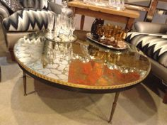 RARE Vintage Brass U0026 Glass Coffee Table Mirrored By RegencyMod, $995.00