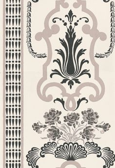 Bergius Graphite (P554/04) - Designers Guild Wallpapers - A cool and classically elegant design influenced by late 18th century painted wall panels. Showing in Graphite. Please request a sample for true colour match. Other colour ways available. Paste-the-wall product.