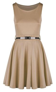 7860d72b277 Extra Off Coupon So Cheap Womens Ladies Belted Sleeve Less Flared Franki  Party Skater Dress Mocha Size XXL