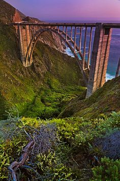 Bixby Bridge at dusk along the Pacific Coast Highway in California.