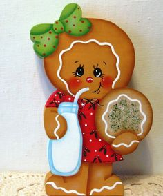 HP gingerbread Christmas ginger milk and cookies SHELF SITTER hand painted USA