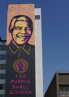 PICS \\\ The Purple Shall Govern - New Shepard Fairey Mural in Braamfontein, Johannesburg - Graffiti South Africa