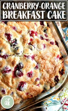 This cranberry and orange buttermilk breakfast cake is a great one to add to your holiday baking repertoire. It takes 10 minutes to prepare, and the batter can be stashed in the fridge and baked in the morning. Breakfast Desayunos, Breakfast Dishes, Blueberry Breakfast Cakes, Cranberry Breakfast Recipes, Yummy Breakfast Ideas, Fresh Cranberry Recipes, Baked Breakfast Recipes, Holiday Baking, Coffee Cake