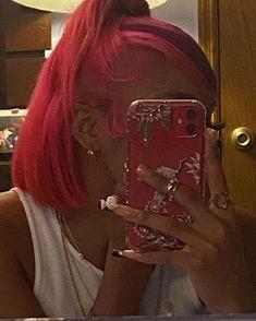 Baddie Hairstyles, Ponytail Hairstyles, Pretty Hairstyles, Black Girls Hairstyles, Dyed Natural Hair, Dyed Hair, Pink Hair, Blue Hair, Hair Inspo