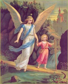 un ángel que lleva de la mano niño