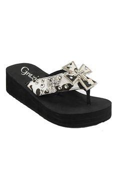 Grazie® Ladies Cowgirl Black & White Cow Print with Cross Rhinestone Flip Flops
