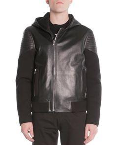 Mixed Media Moto Jacket, Black  by Givenchy at Neiman Marcus.