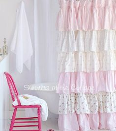 Delicieux Cottage Colors Ruffle Shower Curtain Pink Roses | The DIY | Pinterest |  Ruffle Shower Curtains, Master Bathrooms And Ruffles