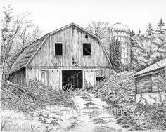 How to draw old barn pictures Landscape Sketch, Landscape Drawings, Cool Landscapes, Barn Drawing, Painting & Drawing, Barn Pictures, Ink Pen Drawings, Tree Drawings, Graphite Drawings