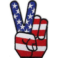 USA Flag Peace Sign Embroidered Iron / Sew On Patch United States American Badge Size 4.7 cm Width and 7 cm Height. How to Iron on a Patch Lay your cloth on a f