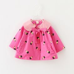 pink baby jacket 2017 kids autumn jackets cartoon cat turn down collar long sleelve toddler girls outwear bowknot girl trench #Affiliate