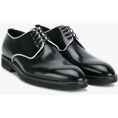 Dolce & Gabbana  contrast piping derby shoes ($675) ❤ liked on Polyvore featuring men's fashion, men's shoes, men's dress shoes, mens leather derby shoes, mens black shoes, mens black derby shoes, mens derby shoes and mens leather lace up shoes