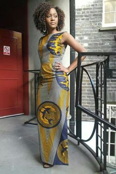 Print Maxi Dress Sapelle African tribal print cotton dress, fully lined, with a side slit to the knee. Sleeveless with boat ne. African Print Dresses, African Wear, African Attire, African Women, African Dress, African Prints, African Style, African Fabric, African Inspired Fashion