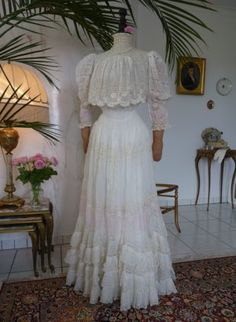 Tea Gown 1899, Tea Gown 1900, antique dress, antique gown, antique afternoon dress, antique summer dress, antique picknick dress, dress 1900...