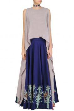 Rishi & Soujit  Navy Blue Circular Skirt with Grey Layered Crop Top #Rishi&Soujit#ethnic#shopnow #ppus #happyshopping