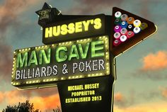 Personalize a Man Cave Retro Neon Sign perfect for Father's Day or any occasion for a man from Ross Studio.  Create a Personalized Man Cave Billiards Sign on fiverr.com