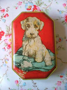 Vintage Collectible Blue Bird Toffee Tin with Puppy Dog on Pillow