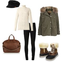 """""""Cozy"""" by crocsshoes on Polyvore. The Crocs duck boot is the perfect way to keep warm and dry this winter! #crocs #boot #duckboot #duck #fuzz #fur #winter #women #fashion"""