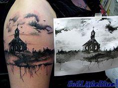 Black/grey church landscape tattoo