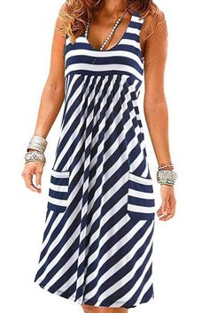 Shopping Round Neck Striped Shift Dress online with high-quality and best prices Casual Dresses at Luvyle. Women's Dresses, Casual Dresses, Fashion Dresses, Summer Dresses, Pretty Dresses, Beautiful Dresses, Shift Dresses, Elegant Dresses, Fashion Coat