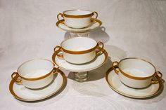 Gold Rim Soup Cups by H&C Selb, Bavaria by VinChic on Etsy
