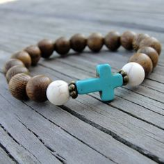 Wood and Turquoise Beaded Cross Stretch Bracelet - Stackable Bead Bracelet - Christian, Teachers, Birthdays, Gifts