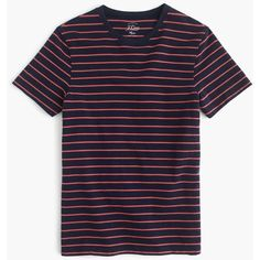 J.Crew Piqué T-shirt in stripe ($40) ❤ liked on Polyvore featuring men's fashion, men's clothing, men's shirts, men's t-shirts, mens striped short sleeve shirt, mens pique polo shirts, mens striped t shirt, mens striped shirt and mens long tail t shirts