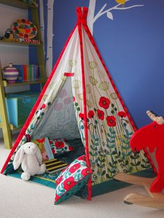 Teepee play tent - floor mat and cushions included - NO POLES - poppy meadow design - tipi no poles