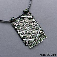 Ethnic beaded pendant peyote necklace Native by Bead Loom Designs, Bead Loom Patterns, Peyote Patterns, Jewelry Patterns, Beading Patterns, Seed Bead Necklace, Seed Bead Jewelry, Bead Jewellery, Beaded Jewelry