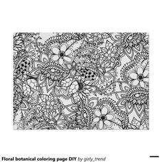 Floral Botanical Coloring Page DIY Poster