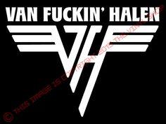"""Van F&*^( Halen funny rock & roll decal Van Halen, Eddie Van Halen decal Funny Decals, Eddie Van Halen, Hard Rock, Rock And Roll, Hand Lettering, Letters, Boats, Funny Stuff, Motorcycles"