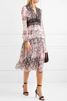 49f89e096655 Giambattista Valli - Lace-trimmed floral-print silk-chiffon midi dress