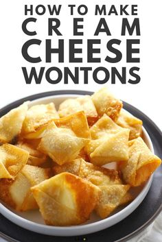 An ultimate guide to making sweet, spicy and regular cream cheese wontons with options to deep fry, air fry and bake in the oven! Cream Cheese Ragoons, Make Cream Cheese, Cream Cheese Recipes, Cream Cheese Filling, Wonton Recipes, Appetizer Recipes, Baked Wontons, Air Fryer Recipes Easy, Cream Cheeses