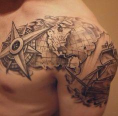 Rose Tattoos For Men, Half Sleeve Tattoos For Guys, Arm Sleeve Tattoos, Tattoo Sleeve Designs, Tattoo Designs Men, Mens Tattoos Chest, Forarm Tattoos, Map Tattoos, Life Tattoos