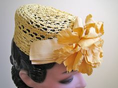 1940s hat, Lemon yellow pillbox with grosgrain and carnation trim, via TopTottieVintage, etsy.