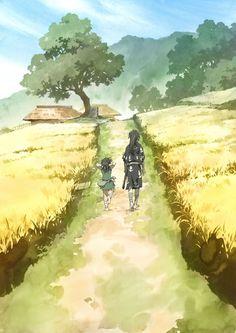 World of Our Fantasy Watercolor Landscape, Watercolor Art, Manga Anime, Anime Art, Fantasy, Illustrations, Ghibli, Kawaii Anime, Samurai