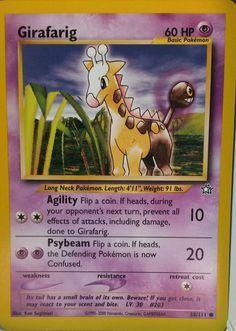 GIRAFARIG Pokémon Basic Card 58/111 with Agility & Psybeam 60HP