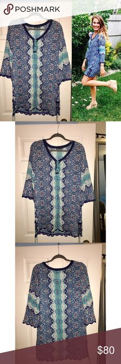 Gypsy05 Kosmo Rayon Pirate Lace Tunic Dress Perfect summer dress! Lightweight & so soft. Gorgeous pattern & lace up detailing. Can wear as a dress, tunic or bathing suit cover up! Gypsy 05 Dresses