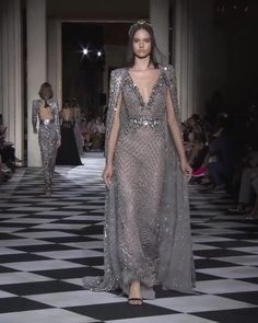 Zuhair Murad Look 27 Stunning Embellished Grey Sheath Evening Maxi Dress / Evening Gown with Deep V-Neck Cut, a Train a d a Cape. Couture Fall Winter Collection Runway by Zuhair Murad Haute Couture Dresses, Haute Couture Fashion, Runway Fashion, Fashion Show, Evening Dresses, Summer Dresses, Short Dresses, Gala Dresses, Wedding Dresses