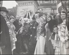 John Albok: Hungarian celebration by Kossuth statue, Riverside Drive & 113th St.  1943