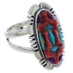 Genuine Southwestern Silver Inlay Multicolor Ring Size 7-1/2 TX38061