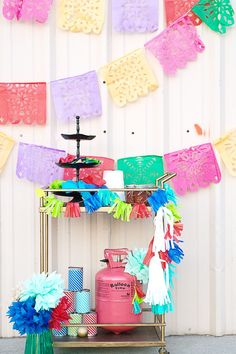 Papel Picado Banners for the Cinco De Mayo Party Hop - Day - Frog Prince Paperie Party Fiesta, Salsa Party, Fiesta Decorations, Girl Themes, The Balloon, Balloon Party, Party Activities, Summer Diy, Paper Crafts