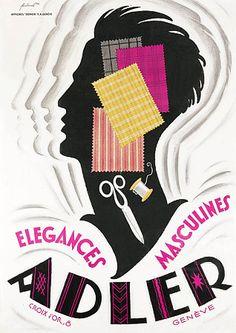 Adler Vintage Mens Fashion Posters and Prints Retro Advertising, Display Advertising, Vintage Advertisements, Vintage Ads, Vintage Posters, Art Deco Font, Art Deco Design, Illustrations, Graphic Illustration
